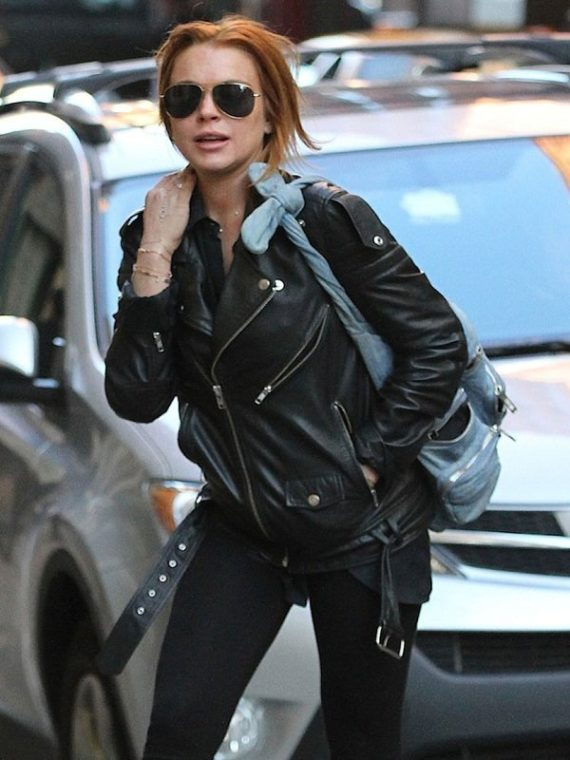 Lindsay Lohan Black Leather Jacket