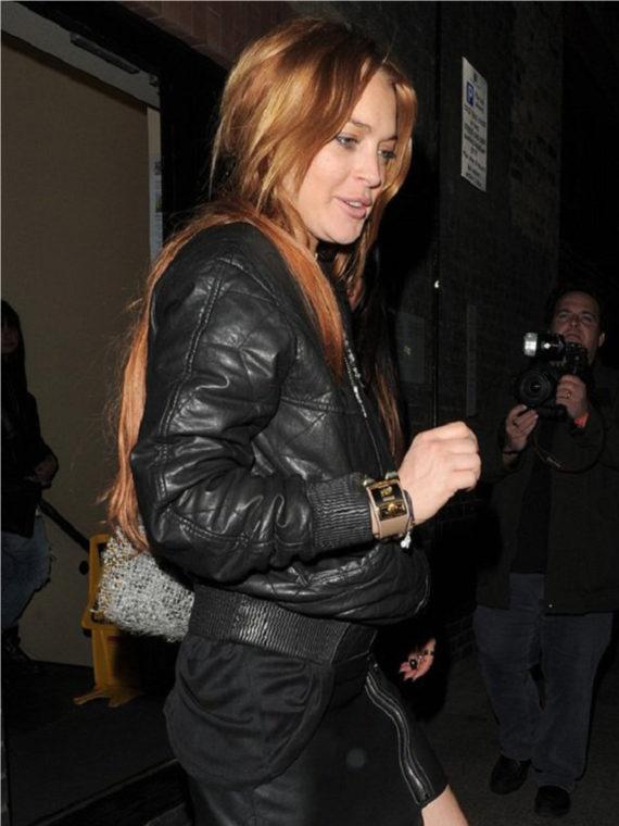 Lindsay Lohan Black Leather Jacket