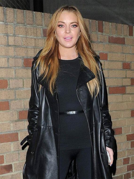 Lindsay Lohan Black Leather Trench Coat