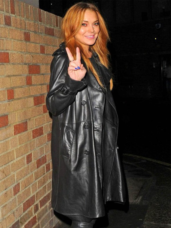 Lindsay Lohan Black Trench Coat