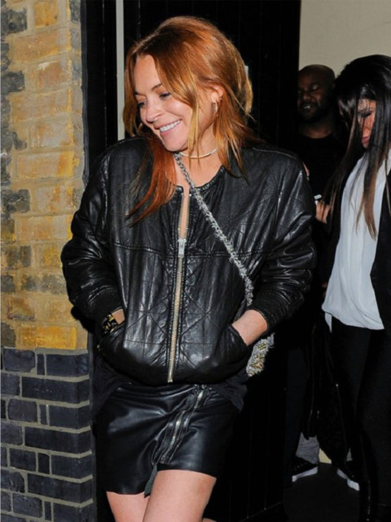Lindsay Lohan Bomber Black Jacket