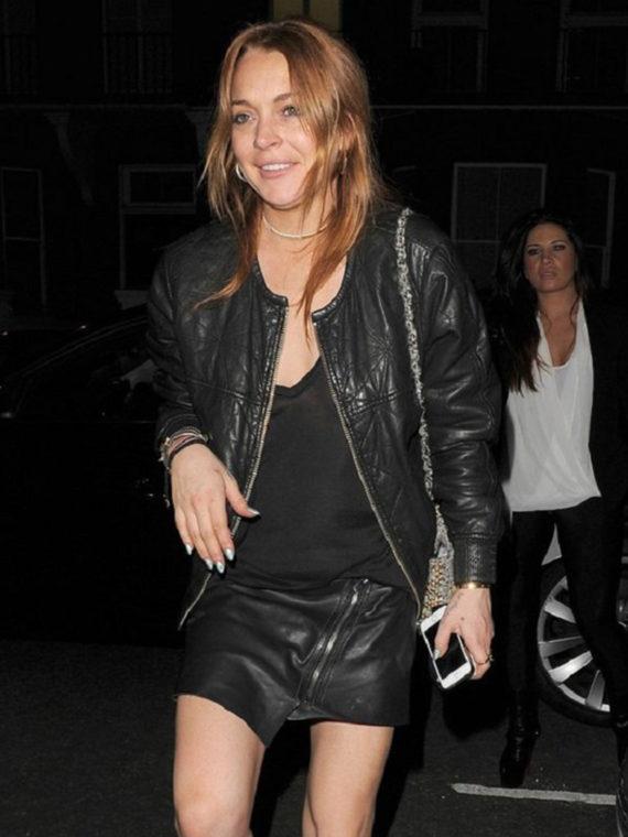 Lindsay Lohan Bomber Black Leather Jacket