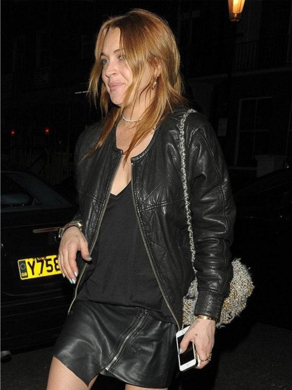 Lindsay Lohan Bomber Leather Jacket