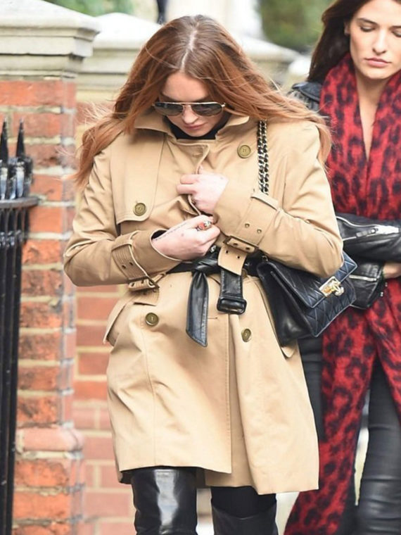 Lindsay Lohan Breasted Trench Coat