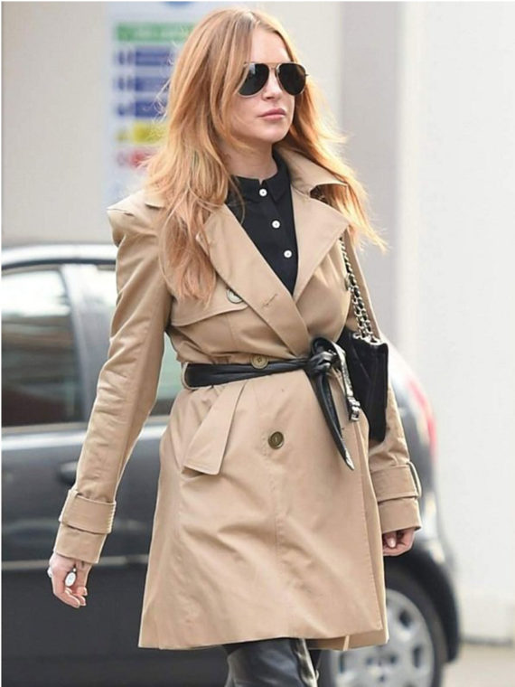 Lindsay Lohan Double Breasted Trench Coat