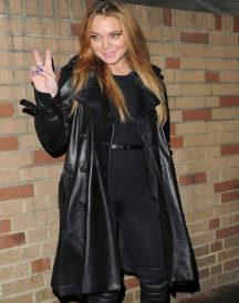 Lindsay Lohan Leather Trench Coat