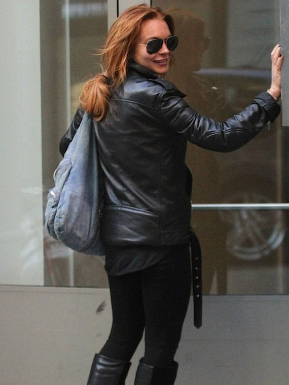 Lindsay Lohan Motorcycle Black Jacket
