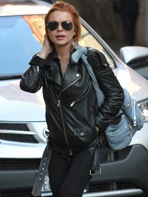 Lindsay Lohan Motorcycle Black Leather Jacket