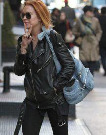 Lindsay Lohan Motorcycle Leather Jacket
