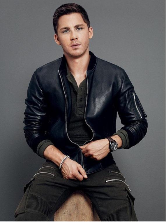 Logan Lerman Bomber Black Leather Jacket
