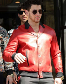 London Visit Nick Jonas Red Real Jacket