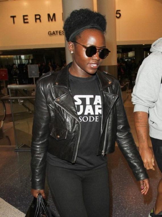Lupita Nyong'o Star Wars Black Leather Jacket