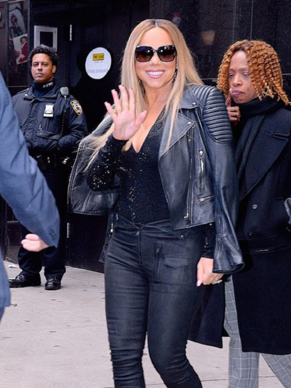 Mariah Carey Padded Design Leather Jacket