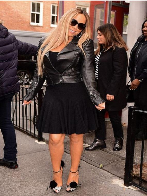 Mariah Carey Padded Leather Jacket