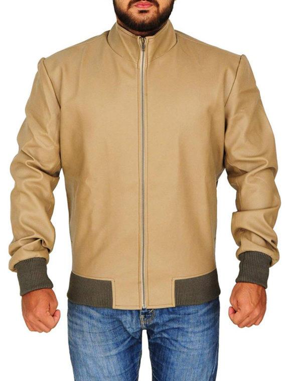 Men's Classic Antique Beige Leather Jacket