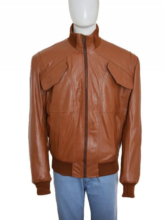 Men 4 Pockets Bomber Leather Jacket