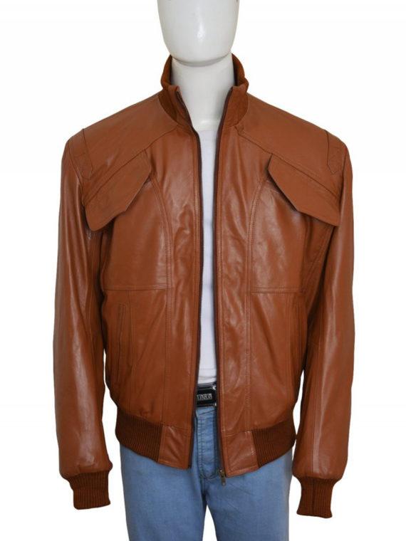 Men 4 Pockets Leather Jacket