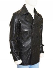 Men Alligator Design Leather Coat