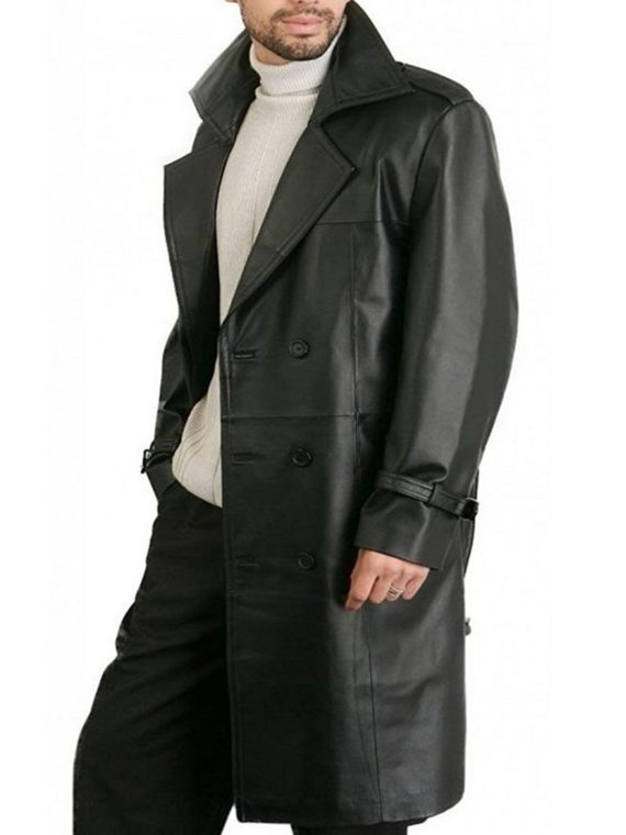 Men Double Breasted Black Leather coat