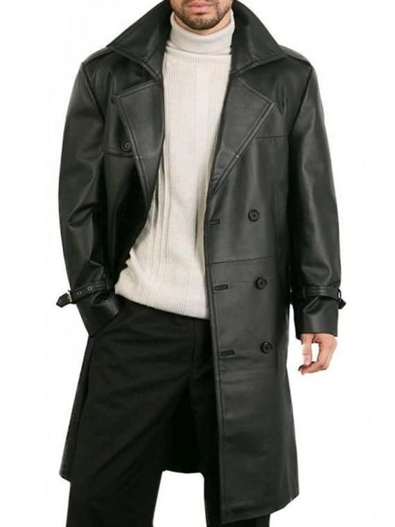 Men Double Breasted Black coat