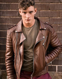 Men Quilted Leather Jacket