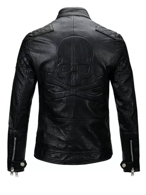 Men Skull Motorcycle Leather Jacket