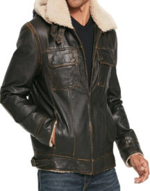 Mens Bomber Flying Aviator Waxed Leather Jacket
