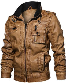 Mens Fashion Biker Stand Collar Faux Jacket