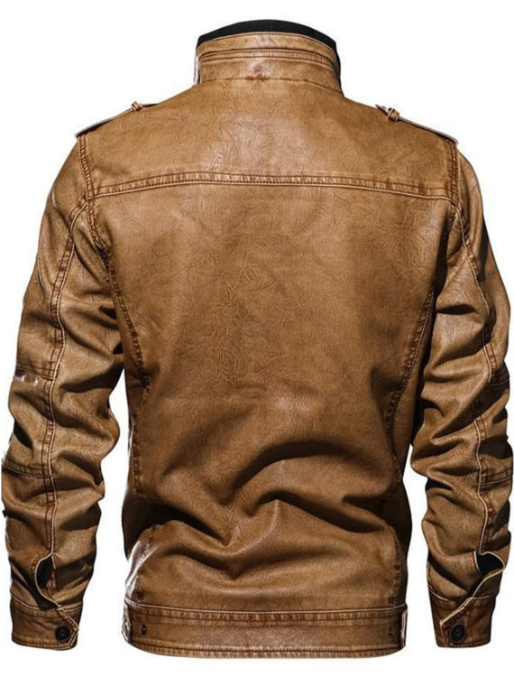 Mens Fashion Biker Stand Collar Faux Leather Jacket