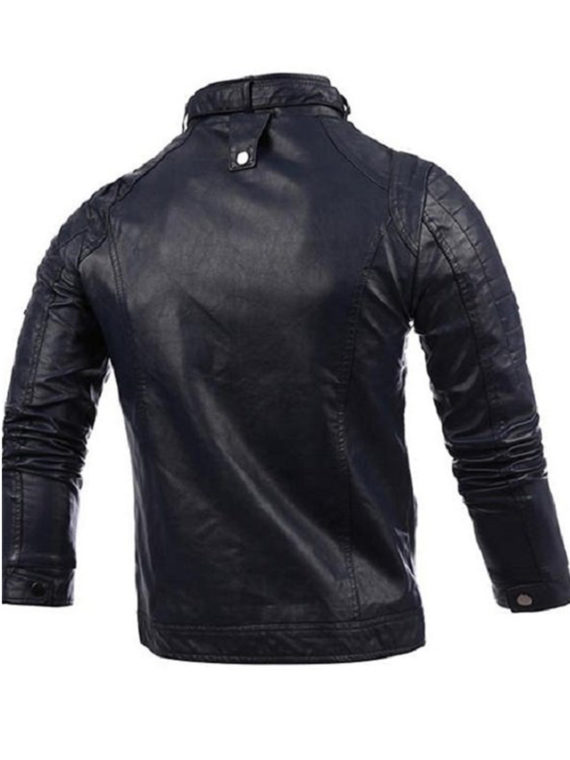 Mens Fashion Black Stitching Collar Biker Leather Jacket