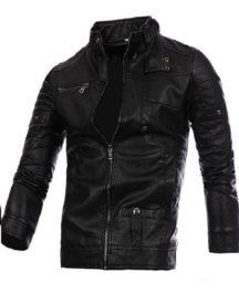 Mens Fashion Black Stitching Collar Biker PU Jacket