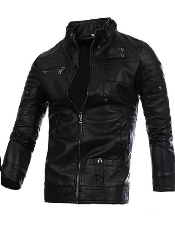 Mens Fashion Black Stitching Collar Biker PU Jacket