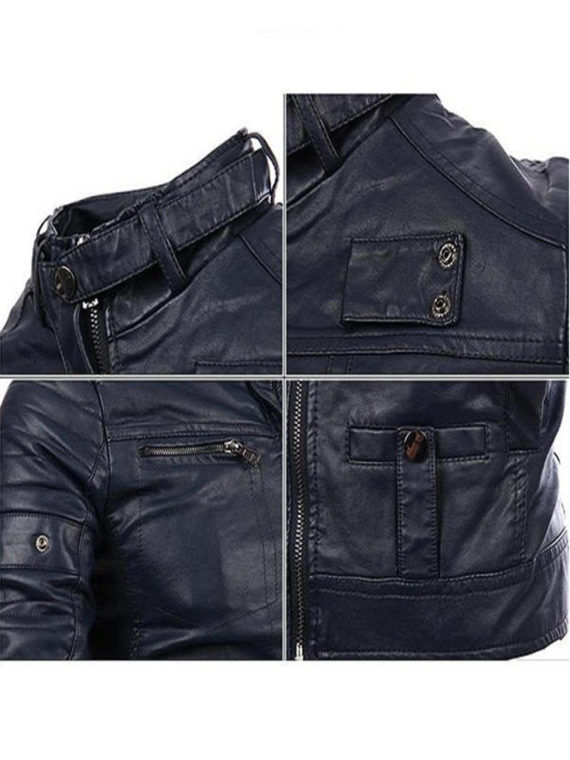 Mens Fashion Black Stitching Collar Biker PU Leather Jacket