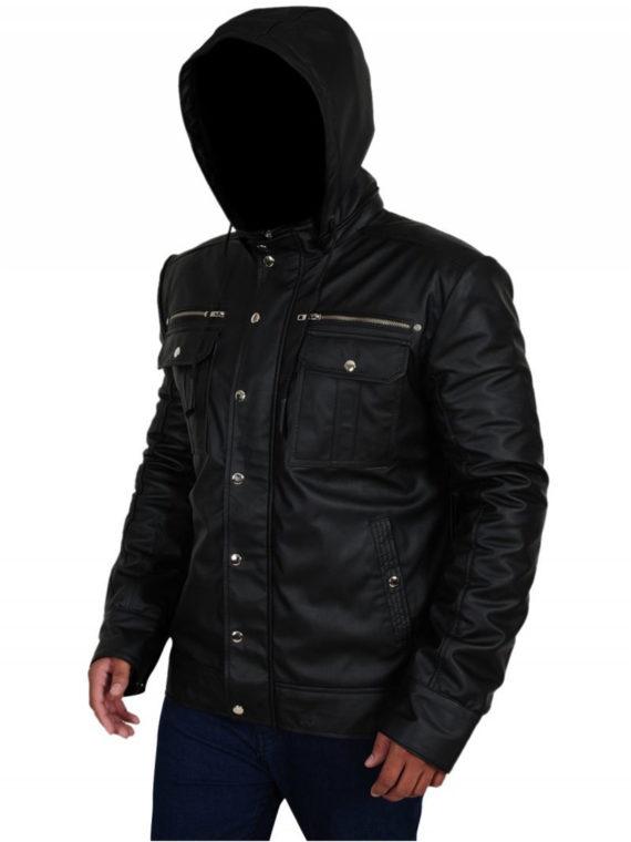 Mens Leather Hoodie Jacket
