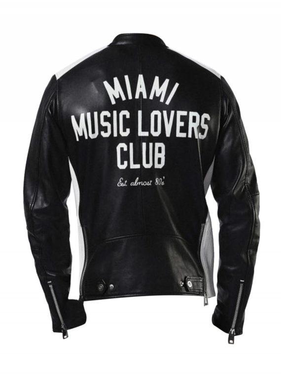 Miami Music Club Black Leather Jacket