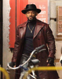 Suicide Squad Will Smith Maroon Leather Coat