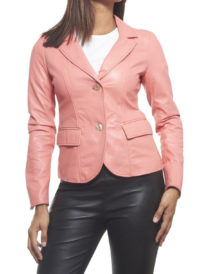 Pink Trendy women Leather Blazer