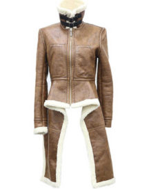 Real Leather Turtleneck Brown Women Coat