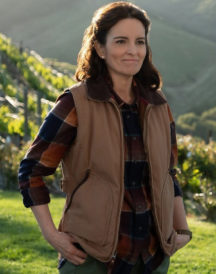 Tina Fey Wine Country Cotton Brown Vest
