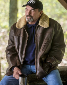 Tom Selleck Jesse Stone Fur Collar Leather Jacket