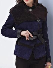 Womens Designer Winter Suede Leather Coat