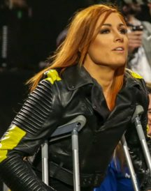 Wrestler Becky Lynch Moto Biker Black Leather Jacket