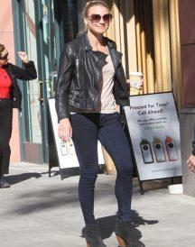 Yvonne Strahovski Leather Jacket