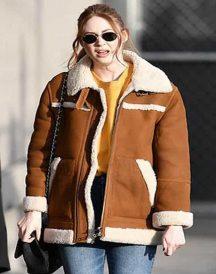 Elegant Karen Gillan Sheepskin Shearling Jacket Coat