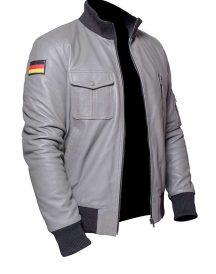 German Flag Grey Luftwaffe Leather Jacket