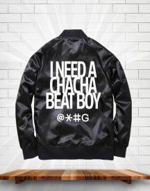 Red Cha Cha Beat Boy Bomber Satin Jacket