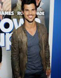 Taylor Lautner Grown Ups 2 Premiere Distressed Leather Jacket