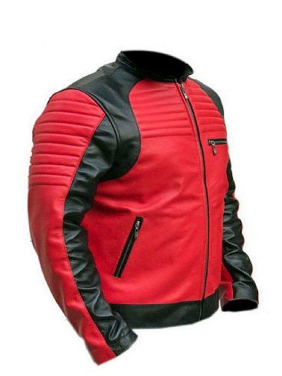 Vintage Café Racer Red and Black Quality Biker Leather Jacket