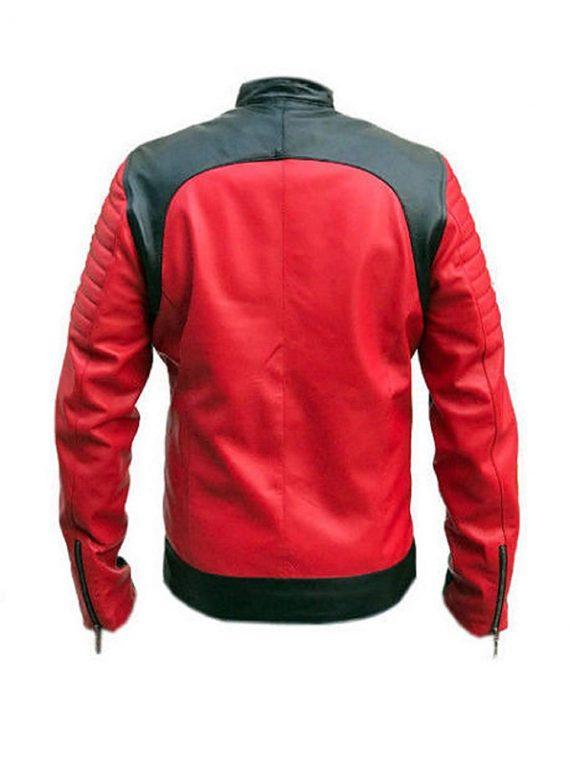 Vintage Café Racer Red and Black Quality Retro Biker Jacket