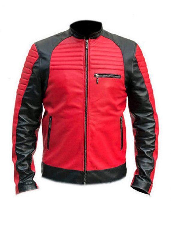 Vintage Café Racer Red and Black Quality Retro Biker Leather Jacket